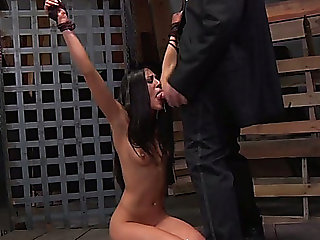 Skinny all bare and natural darksome head is bound up and throat groupfucked