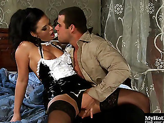 Elegant Dark Brown In Darksome Nylons And Her Ardent Cowgirl Ride