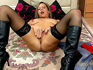 Leather boots and dark nylons on a hot solo mother i'd like to fuck