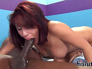 Redhead senorita pleasures a large dark weenie