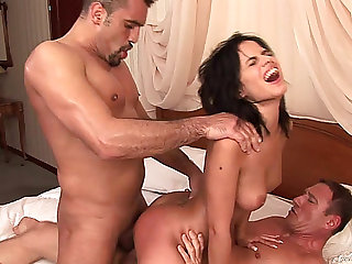 Angelika Darksome With Natural Melons Enjoys double penetration In Male+Male+Female Trio Act