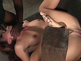 Nasty and wild redhead lady double teamed by darksome and white boyz