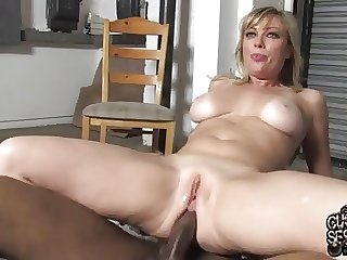 White mommy Adrianna drilled by two blacks in the butt