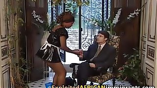 African maid is a hairy sex slave