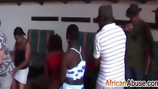 Horny African sluts get roughly banged at party
