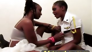 Voluptuous african babe got violated and her asshole stuffed with sex toy during lesbian play