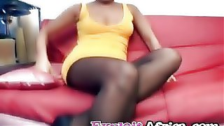 Ebony amateur riding big white dong interracial