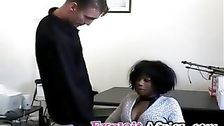Ebony hottie fucking riding hairy pussy interracial
