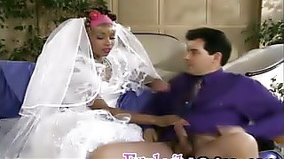Black bride riding white cock before wedding