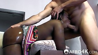 White cock fucks African girl in 3 HOLES