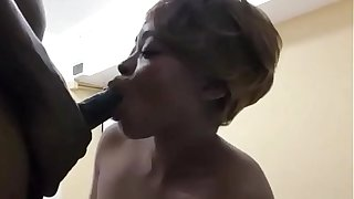 Hot Ebony sucks a sloppy big black cock end eats his load